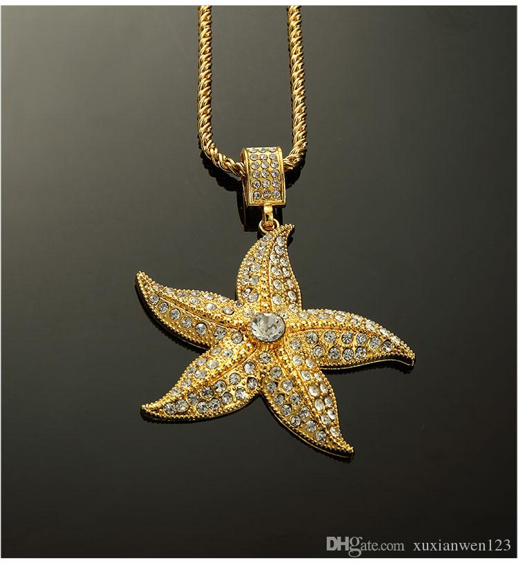 Золото Vacumm покрытием шипованных горный хрусталь Морская звезда ожерелье ювелирные изделия хип-хоп костюм ювелирные изделия цепи длина 75 см