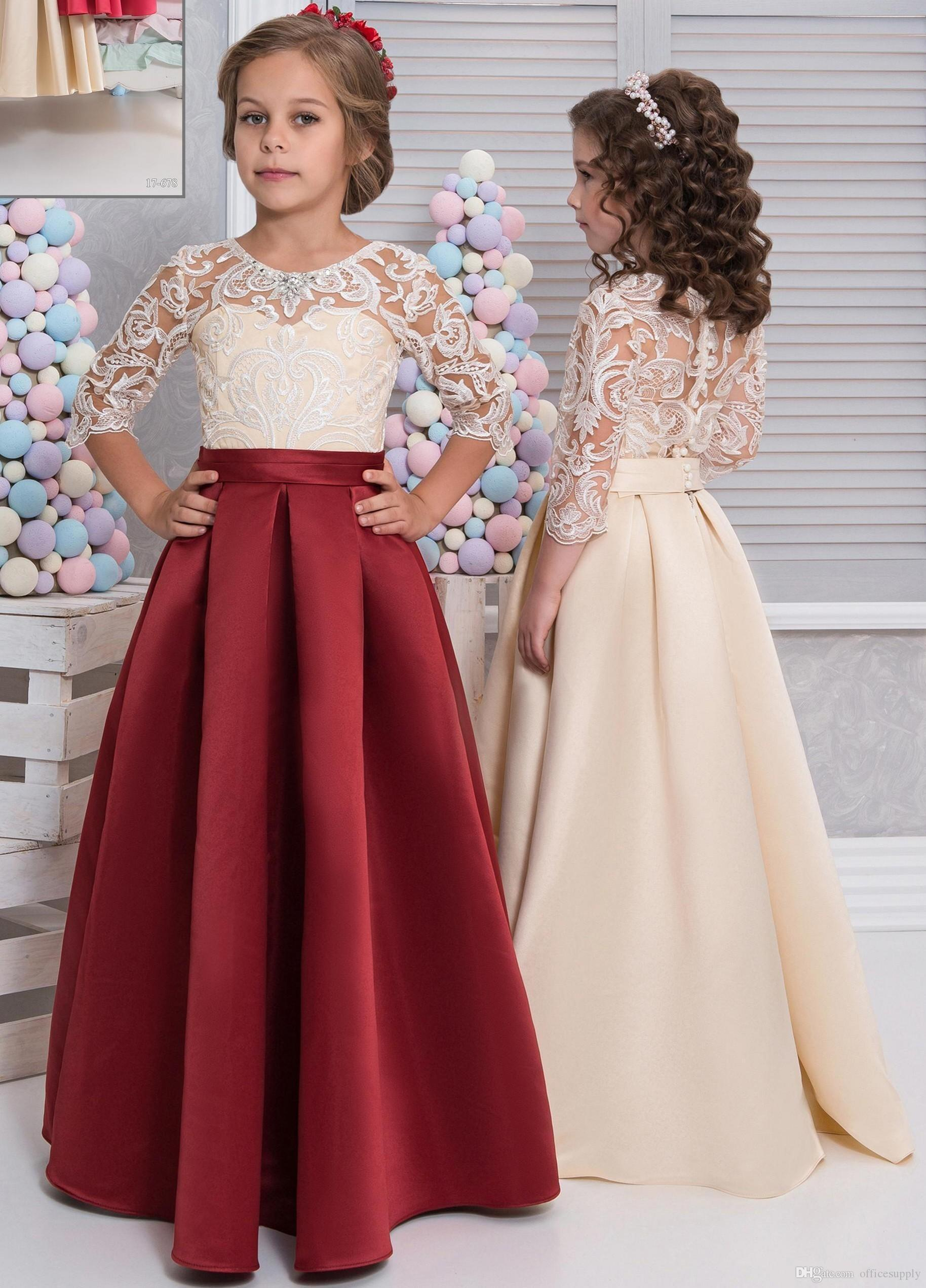 6cc74b611165 2018 Lace Satin Girls Pageant Dresses 3/4 Long Sleeves Dark Red Champagne  Fall Children Christmas Party Flower Girl Dresses Cute Flower Girl Dresses  Cute ...