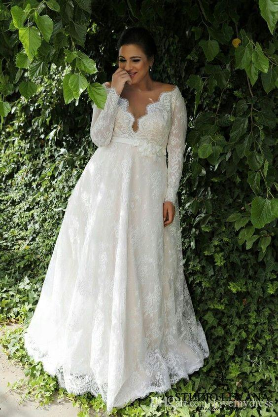 2018 Lace Plus Size Wedding Dresses V Neck With Long Sleeves ...