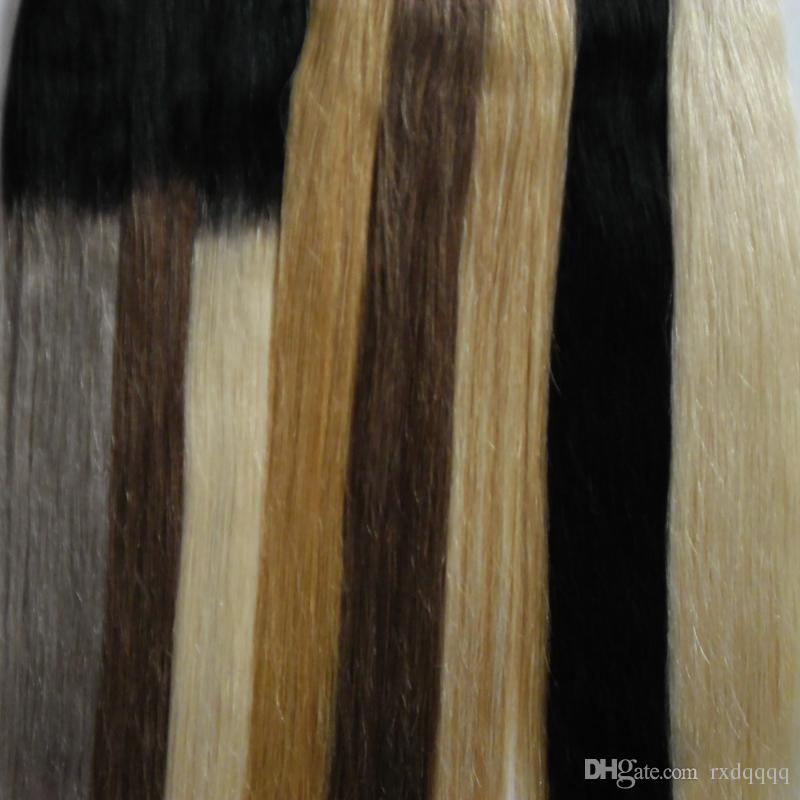 # 27 # 1 # 60 # 1b / grau # 1b / 8 # 1b / Band in Haarverlängerungen 40 Stück Blondes brasilianisches Haar Natural Straight Ombre Virgin Remy Hair 100g