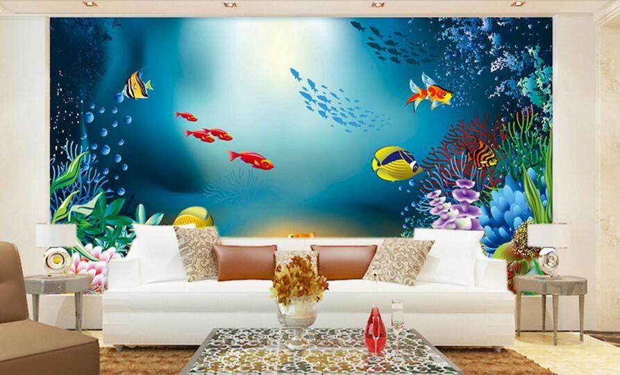 3d Wallpaper Custom Photo Non Woven Mural Cartoon Fish Sea