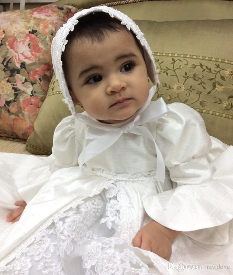 Vintage Baby Taufe Kleider Hohe Qualität Spitze Appliques Taufe Outfits Formale Infant Mädchen Tragen Mit Motorhaube