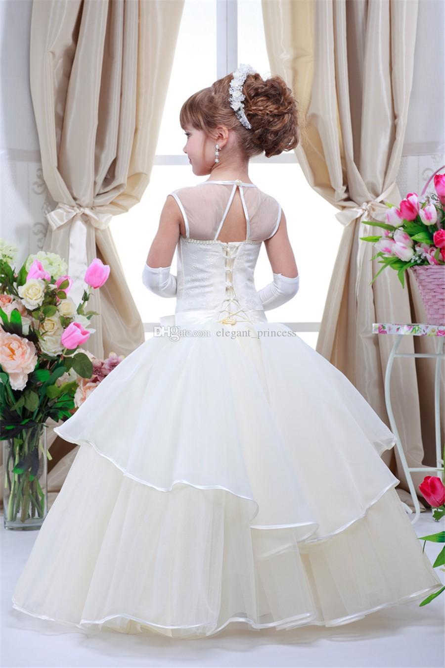 2020 doce crianças até o chão Crianças Prom Vestidos menina meninas Pageant Vestidos Primeira Comunhão Vestidos Santo Vestidos Skirt