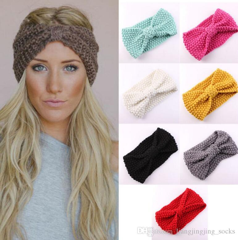 Women Lady Crochet Bow Knot Turban Knitted Head Wrap Hairband Winter Ear  Warmer Headband Hair Band Accessories Headwrap KKA2443 UK 2019 From ... 7657c27ba281