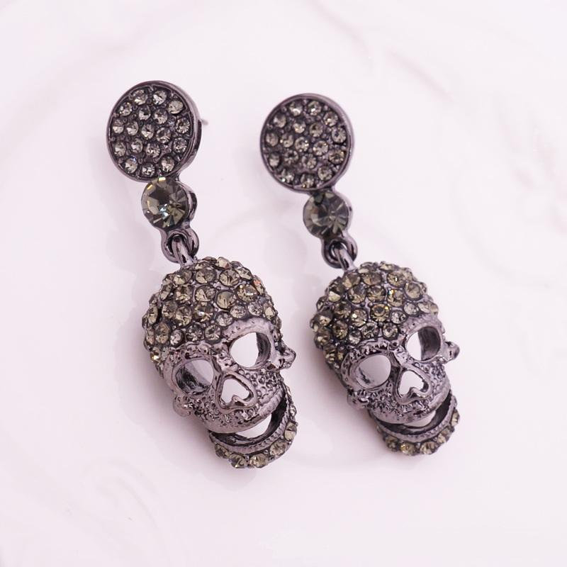 2017 new punk crown skull Dangle earrings for women Jewelry Fashion club Halloween delicate gem crystal skeleton drop earrings