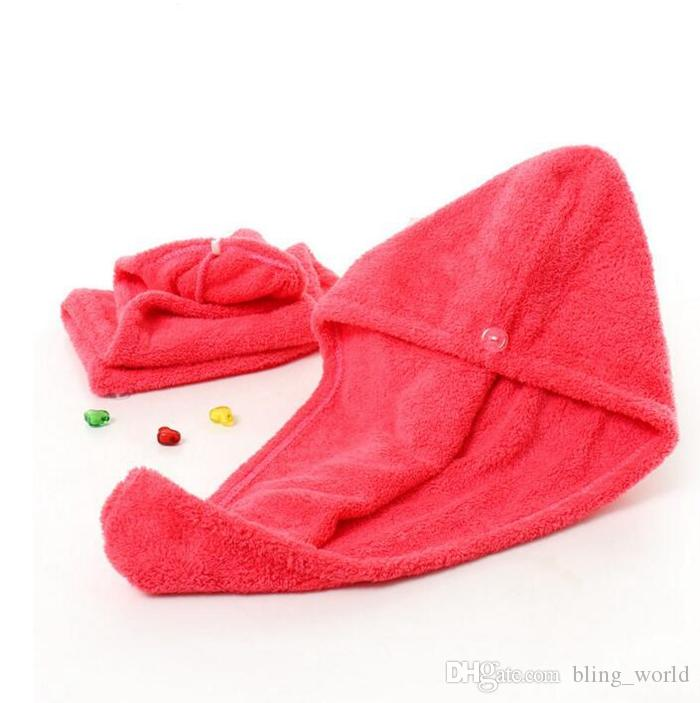 Mikrofiber Hızlı Kuru Duş Saç Caps Sihirli Süper Emici Kuru Saçlar Havlu Kurutma Turban Wrap Şapka Spa Yıkanma YW140 Caps