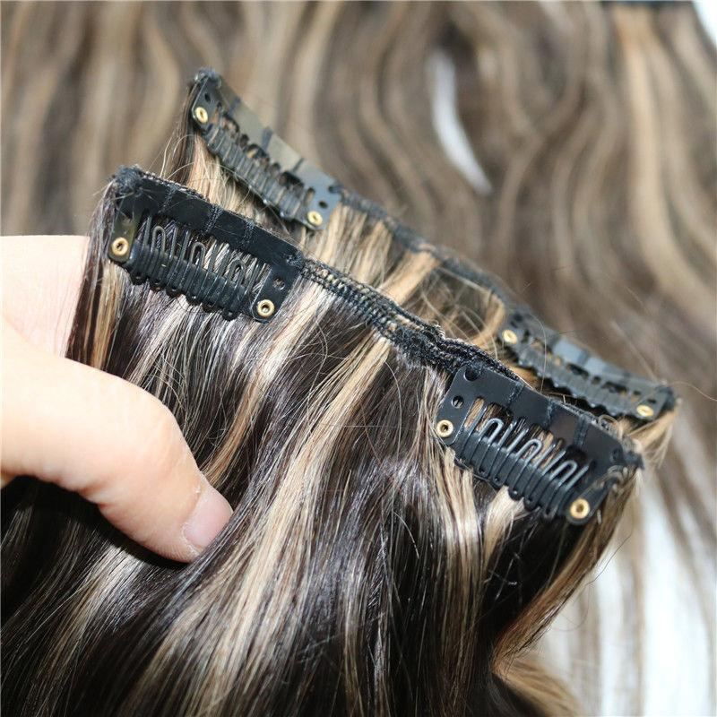 Highlight Clip In Human Hair Extensions Straight Dark Brown With Honey Blonde #2/27 Virgin Indian Remy Hair Clip Ins 100g