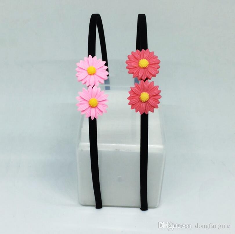 Frete grátis Pequeno margarida flor flor cabelo cabelo círculo pano preto em torno do cocar TG021 ordem da mistura 30 peças muito