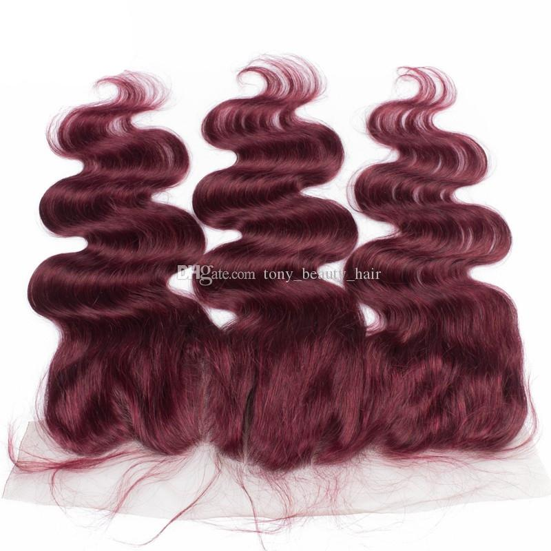 9A Wine Red Ear to Ear 13x4 Lace Frontal Closure With Bundles Body Wave Burgundy/#99J Brazilian Virgin Hair With Closure Bleached Knots