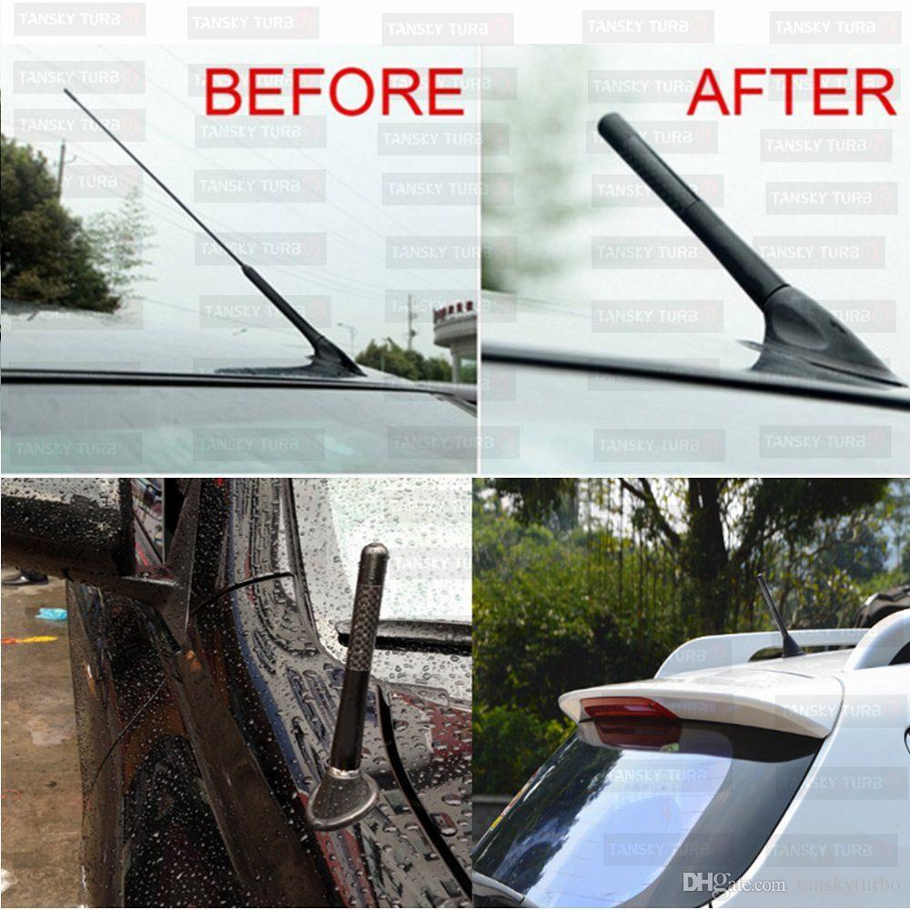 "TANSKY - 8cm/3.3"" Car Black Carbon Fiber Short Stubby Aerial Antenna Universal FM/AM TK-TX002-80"