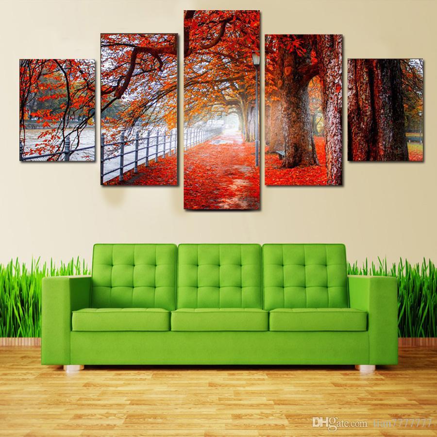 5 Peças Moderna Folha de Bordo Da Árvore Da Pintura Da Lona Paisagem Unframed Imprime Arte para Sala de estar Decoração de Casa Imagem Da Parede