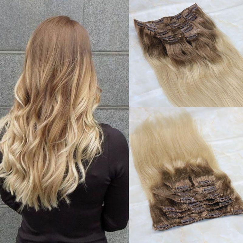Clip In Human Hair Extensions Brazilian Virgin Hair Ombre Medium