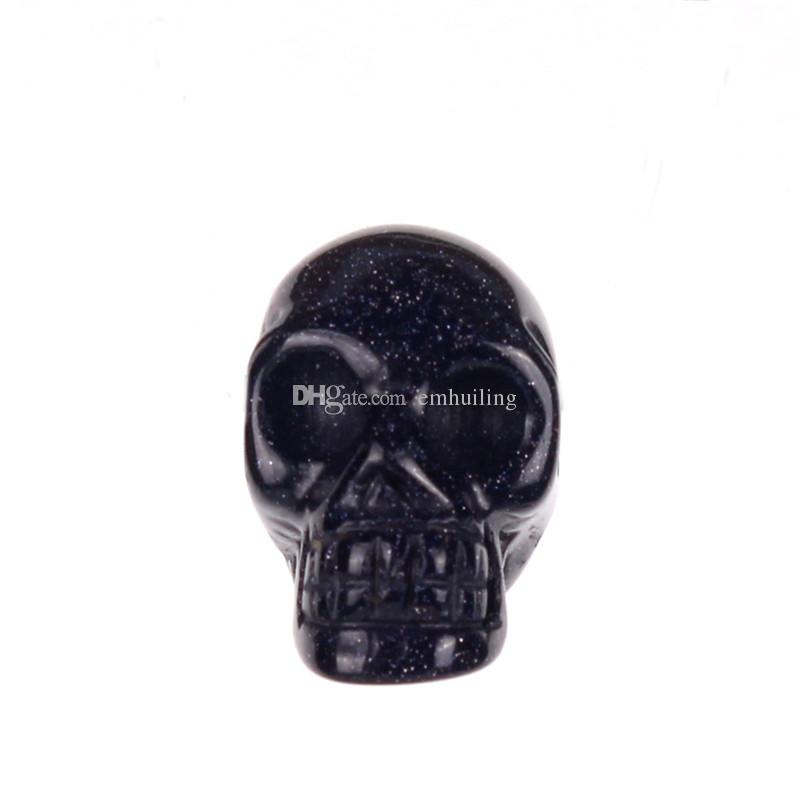 Mixed Stone Obsidian Rose Quartz Agate Bead Carved Drilled Hole Human Skull Head Crystal Reiki Healing Statue Figurine Collectible by Random
