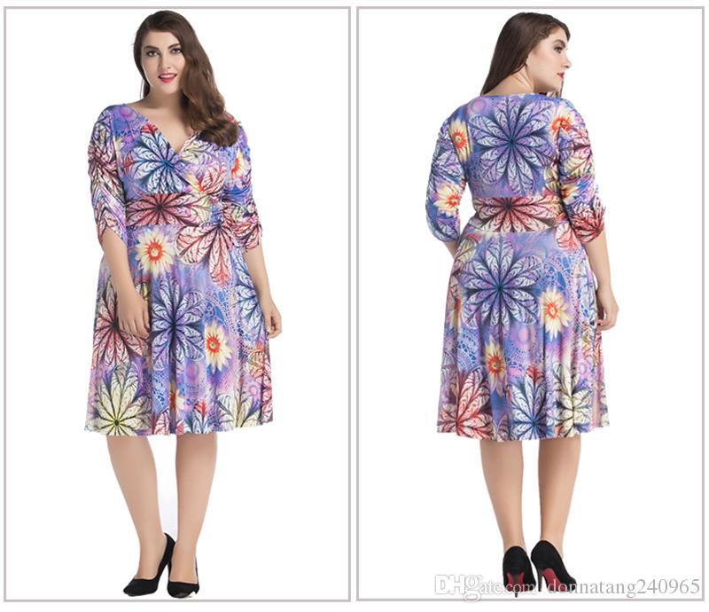 Compre Ropa De Gran Tamaño De Las Mujeres 7xl Moda Hermosa Floral ...