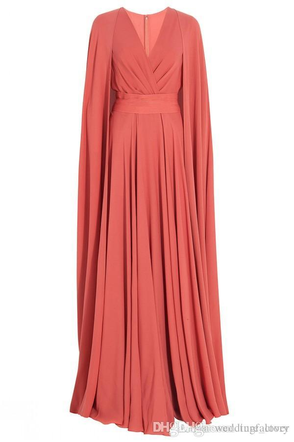 Spring Modest Muslim Long Party Dress Coral Chiffon Evening Dresses A Line Surplice V Neck Prom Gowns with Cape Sweep Train Custom Made