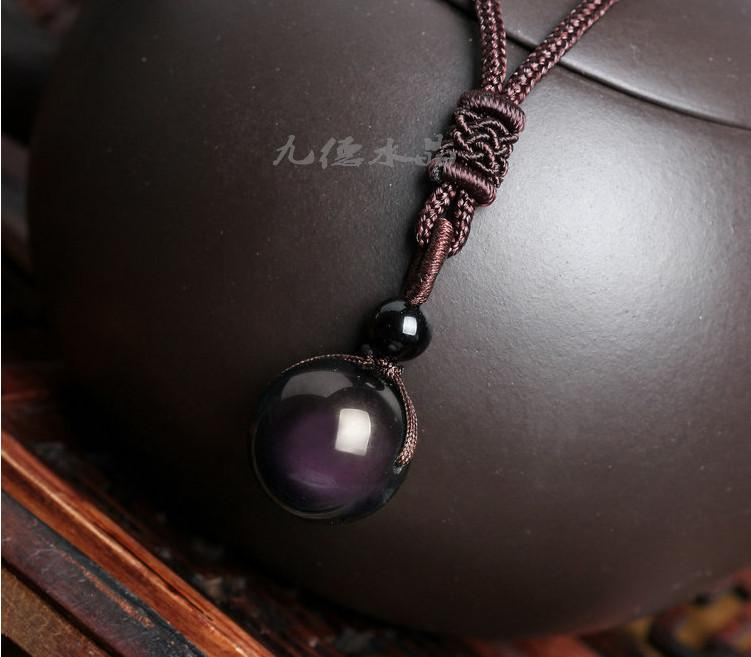 Wholesale natural stone black obsidian rainbow eye beads ball wholesale natural stone black obsidian rainbow eye beads ball pendant transfer lucky love crystal jewelry with free rope for women and men choker necklace aloadofball Gallery
