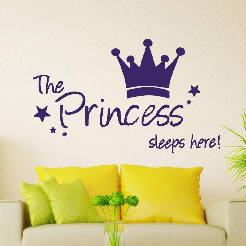 Personality The Princess Sleep Here Wall Stickers For Kids Room Wall Decals Home Decor Wall Art Quote Bedroom Wallpaper
