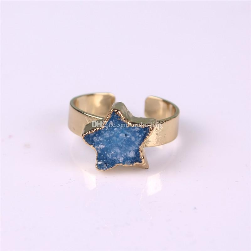 Druzy Drusy Crystal Agate Quartz Geode Green Pink Blue Adjustable Ring Gold Plated Cute Star Raw Rough Natural Dyed Gemstone Statement Ring