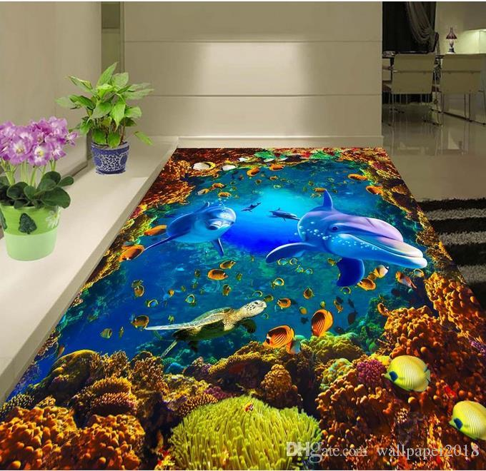 PVC wallpaper for room Underwater world dolphin coral 3D three-dimensional painting floor tile floor painting