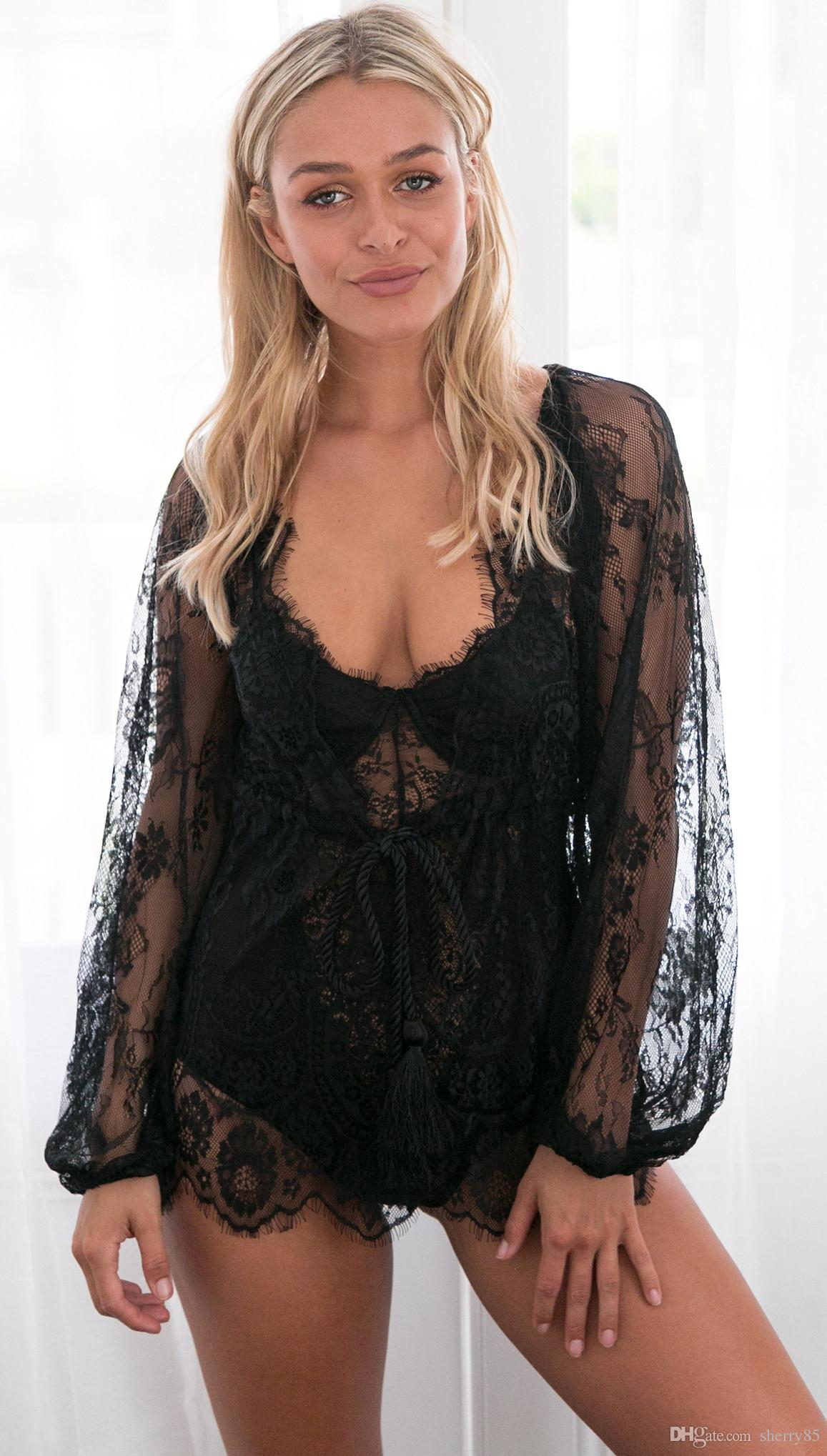 Women Sexy Deep V Lace Tassel Cover Up sexy Hollow Lace Swimsuit Long sleeve Swimwear Tunic Cover-Ups Bathing Suits 8004