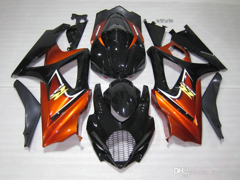 Injection mold ABS plastic fairings for Suzuki GSXR1000 2005 2006 burnt orange black fairing kit GSXR1000 05 06 OT52
