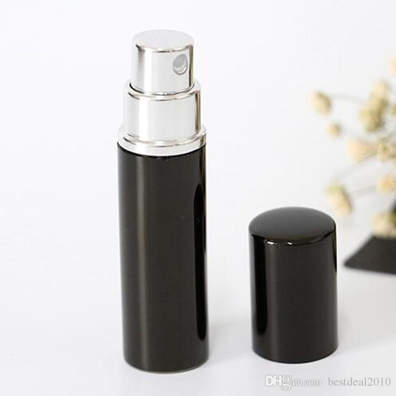 Recarga Garrafa de cor Preta 5 ml 10 ml Mini Portátil Recarregável Perfume Atomizador Spray Garrafas Garrafas Vazias Recipientes Cosméticos Garrafas