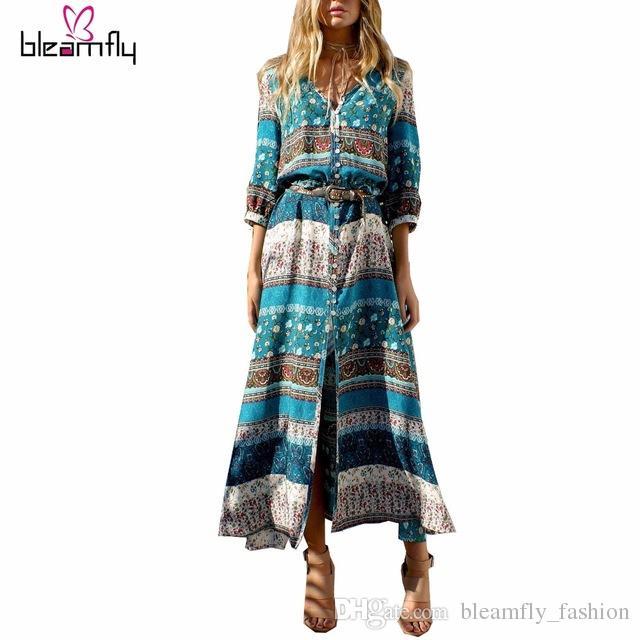 06132d389 2017 Nueva Impresión Bohemia vestido largo de las mujeres maxi vestido  largo estampado floral retro hippie vestidos más el tamaño de la ropa boho  ...