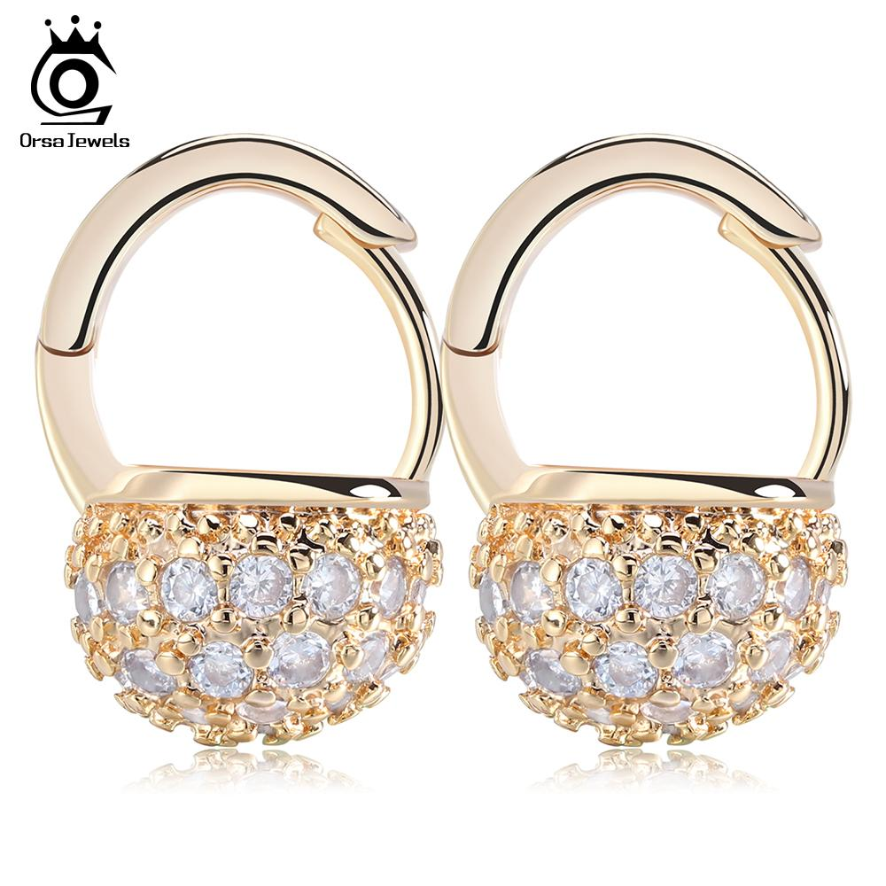 363c9660fed ORSA JEWELS High Quality Round Flower Design AAA CZ Crystal Stud Earring  for Wedding Romantic Jewelry for Women OME30