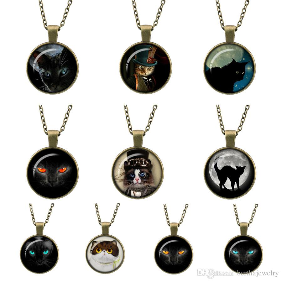 Retro fashion Steampunk Mechanical cat Glass photo Cabochon long paragraph Bronze Pendant Round Gemstone Necklace for Women Best Gifts