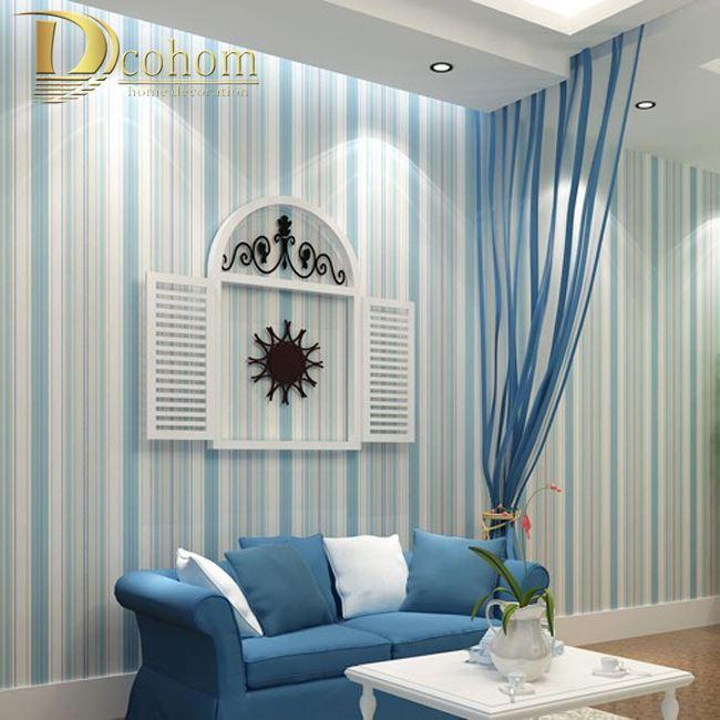 Compre moda moderna horizontal azul blanco papel pintado a - Papel pintado a rayas verticales ...