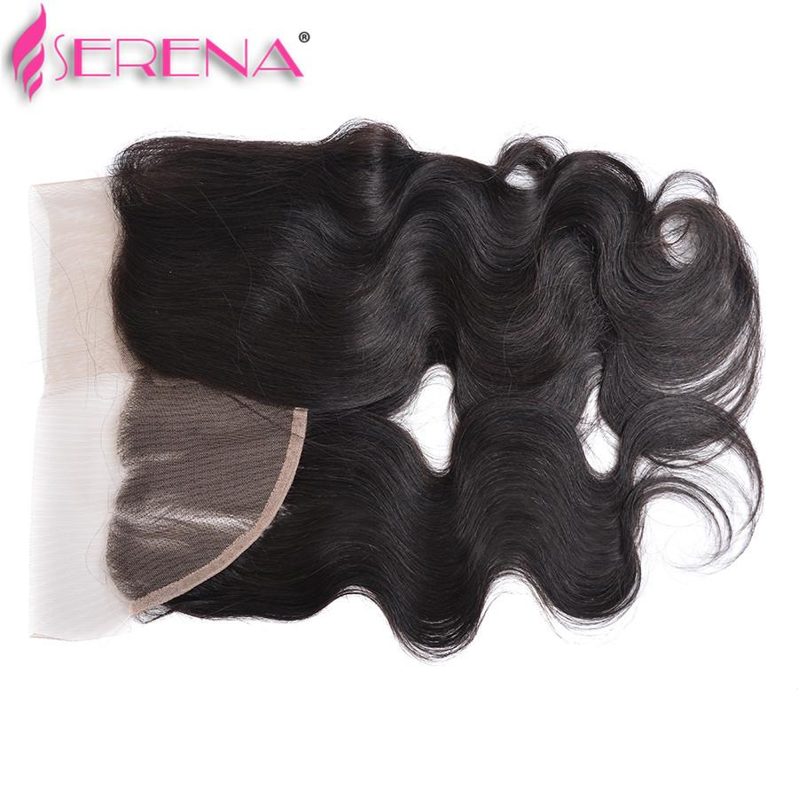 8A Peruvian Body Wave Silk Base Frontal Closure Free Middle 3 Part Lace Frontal With Baby Hair 13x4 100% Bleached Knots Hair Extensions