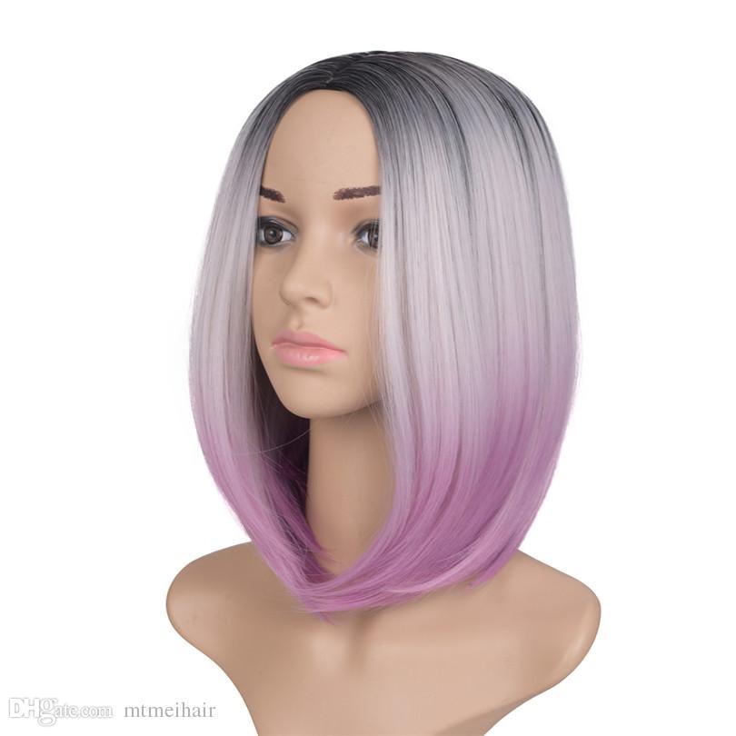Mtmei pelo a prueba de calor 10 '' corto Bob pelucas para mujeres sintético recto negro marrón Ombre Kanekalon peluca cosplay pelucas