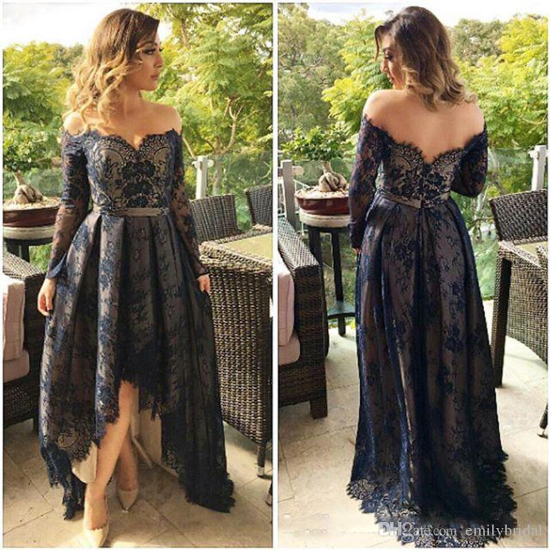 Celebrity Wedding Guest Outfits 2019: Navy Blue Lace High Low Prom Dresses Long Sleeves Off