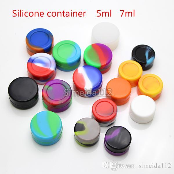 Contenitore in silicone di alta qualità 5ml 7ml Contenitori in cera antiaderente contenitori alimenti in barattoli di metallo