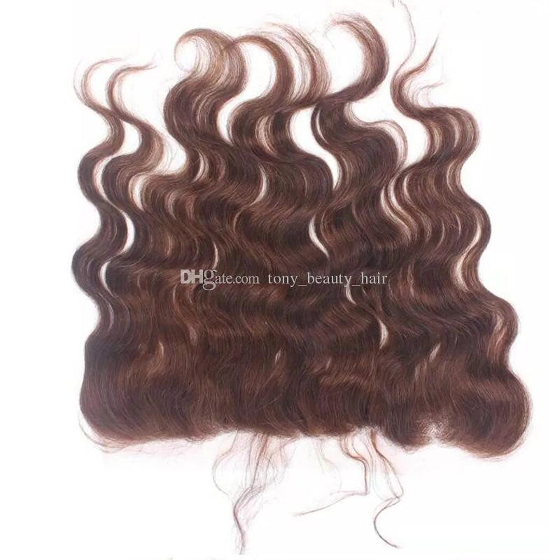 Chocolate Brown Brazilian Hair With 13*4 Full Lace Frontal #4 Medium Brown Body Wave Virgin Human Hair Bundles With Frontal Closure