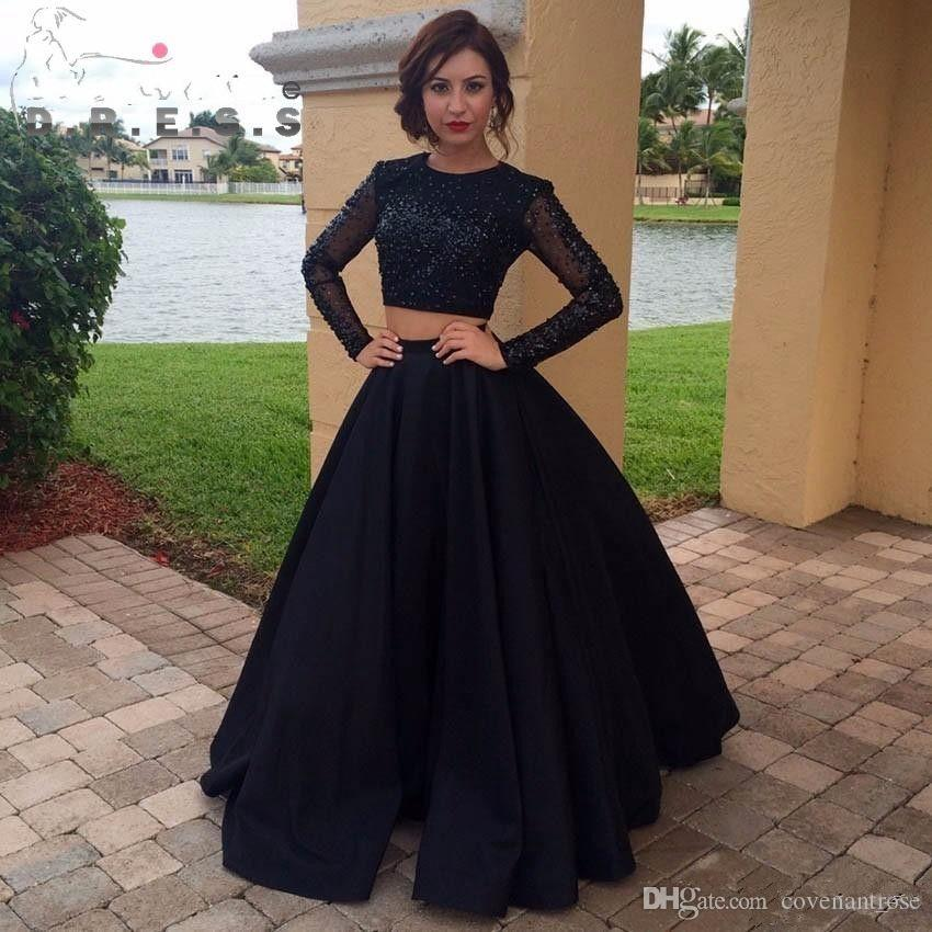 Modest Black Prom Dresses 2017 Long Sleeve Sequins Two Piece Evening Dress  Satin Custom Made Formal Party Gown Canada 2019 From Covenantrose 2730c0b71