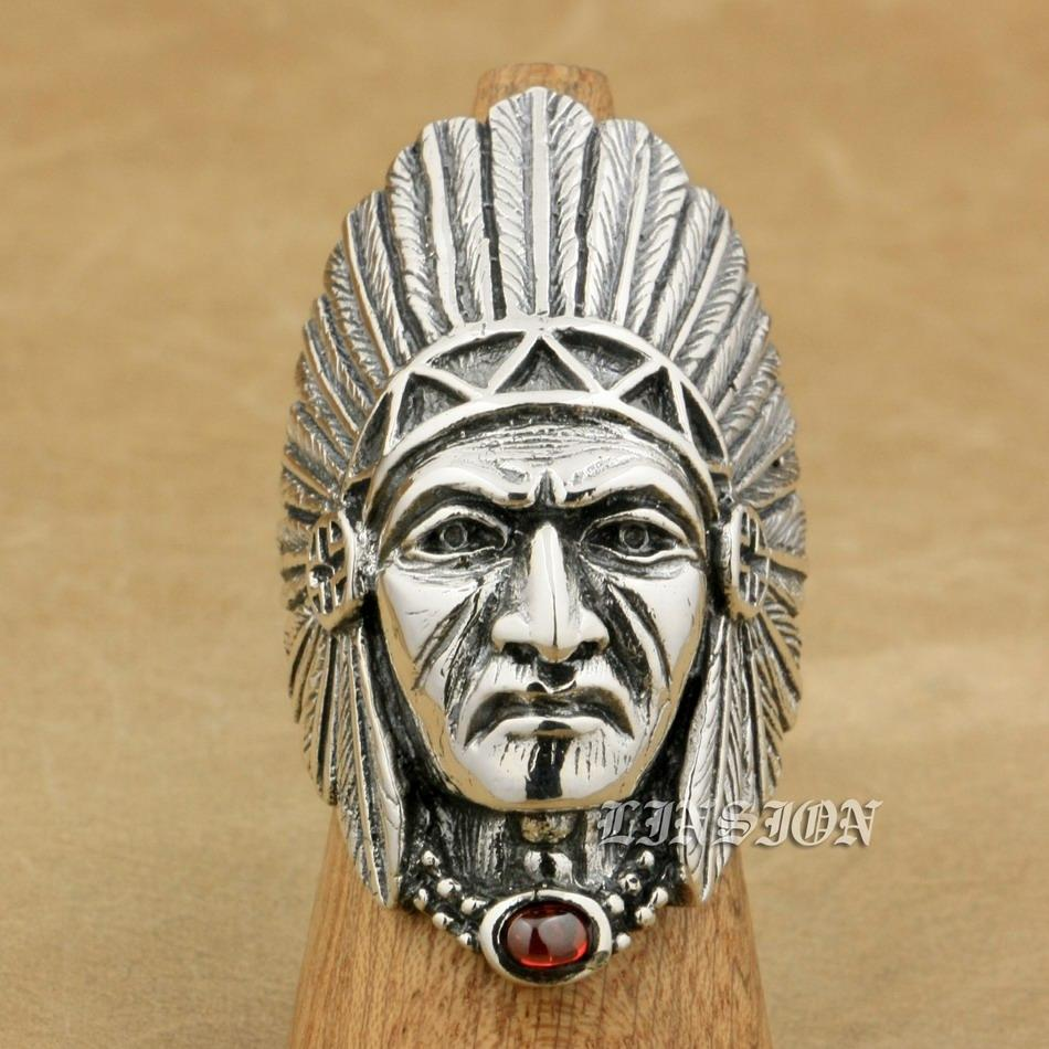 LINSION 925 Sterling Silver Indian Chief Red CZ Mens Biker Rocker Punk Ring 9T007 US Size 7 to 15