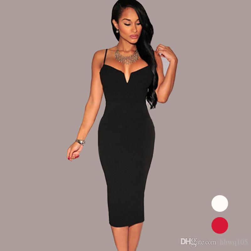 8d878e65172d 2019 Ladies Black White Red Evening Party Dress Summer Slim Bodycon Midi  Dress Sleeveless Spaghetti Strap Formal Dresses ZSJF0454 From Hhwq105