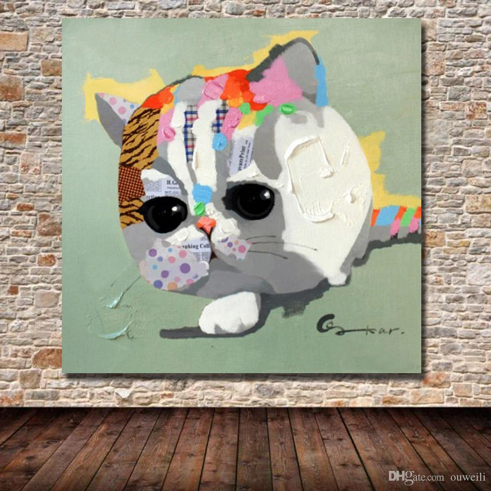 Top quality hand painted animal pet cat oil painting decorative design home decor goods oil painting cheap modern canvas art
