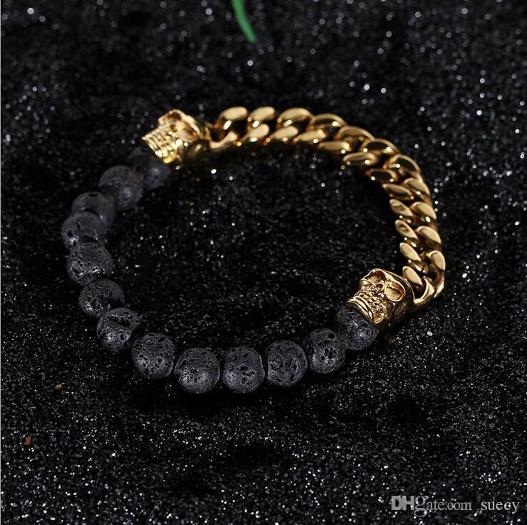 Pedras vulcânicas com corrente do ouro Cor Prata aço inoxidável Crânio Pulseiras Bangles link pulseira homem pulseira