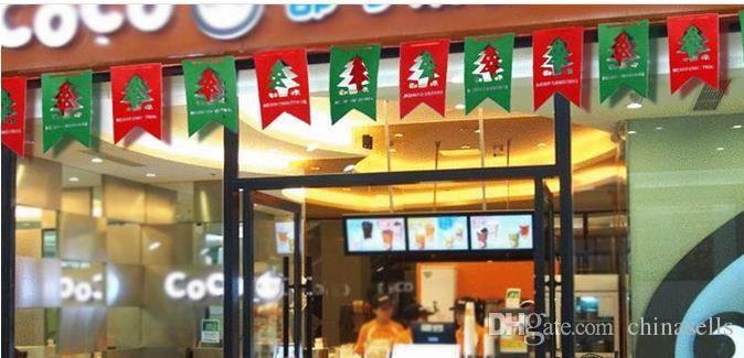 Árvore de natal enfeites pendurar cerveja meias boneco de neve janela janela mercado mall festa de natal diy decorações 3 m puxar flores