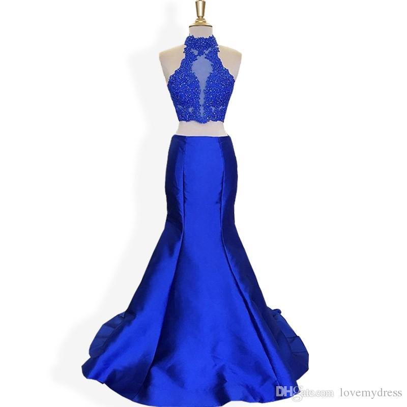 Sexy Royal Blue High Neck Mermaid Vestidos baratos de manga larga 2018 Tallas grandes Nueva llegada Apliques con abalorios satinados Vestido de fiesta vestidos de noche
