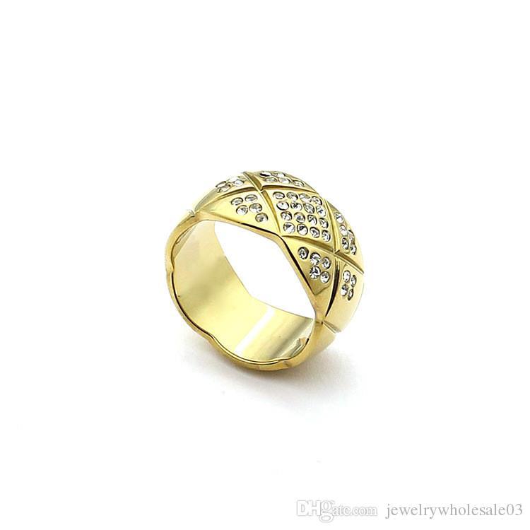 Acessórios de aço de titânio por atacado padrão de corte cinto anel de broca 18 K ouro rosa e anel de diamante com um anel largo e estreito