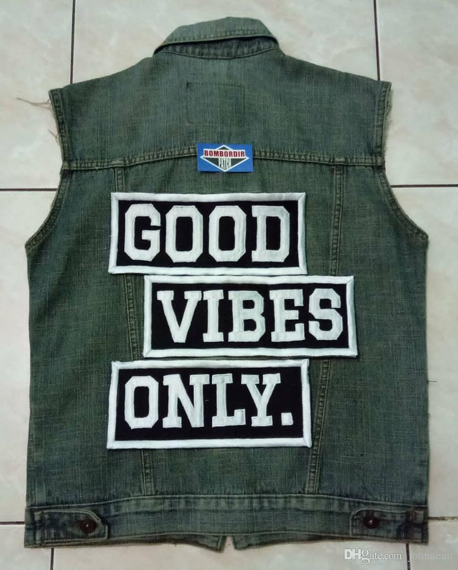 GOOD VIBES ONLY. MC Patch on Jeans Clothes Back Handmade Embroidered Iron On Motorcycle Applique Punisher Skull Cross Biker Patches Fr