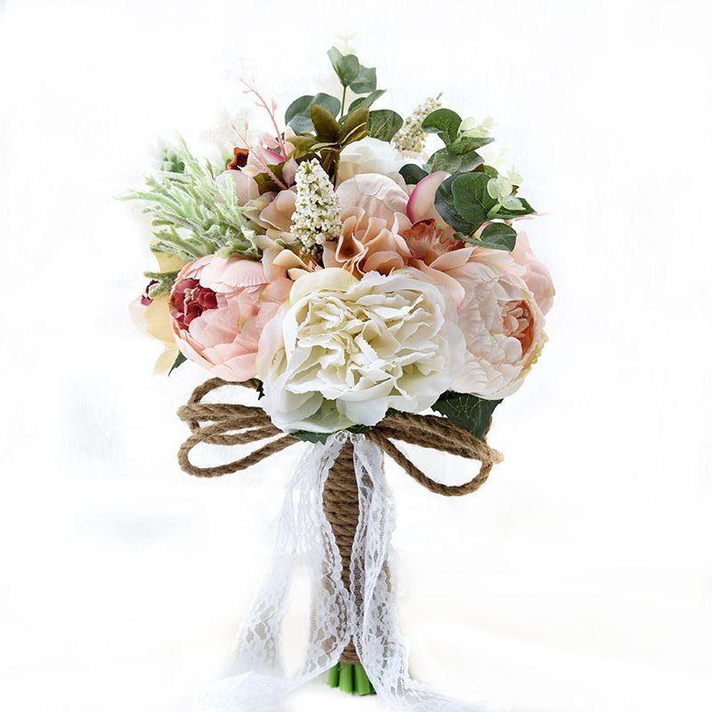 Artificial Wedding Bridal Bouquets Handmade Flowers Rhinestone Rose ...