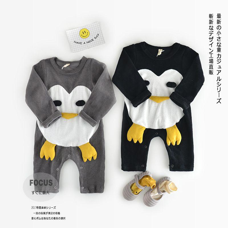 Acheter Baby Boy Romper A Manches Longues Cartoon Animal Penguin
