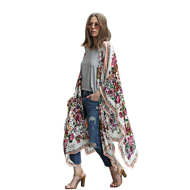 2018 Summer Style Women Long Chiffon Kimono Cardigan Blusa ...