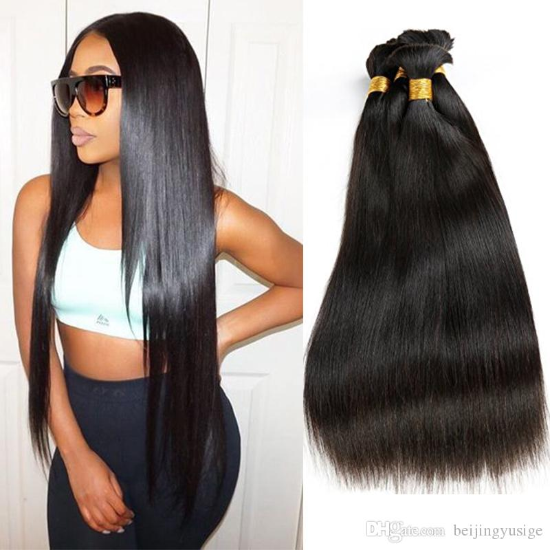 Indian Remy Human Hair Bulk No Weft Straight Bulk Braiding Hair