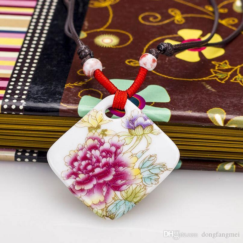 Marca nova jóia de cerâmica pingente de colar de peônia rica telhas pastel WFN484 com corrente misturar a ordem de 20 peças muito