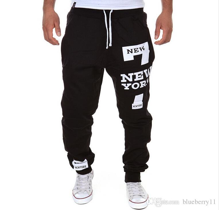Mens Pants White Gray Elastic Waist Printed Letters Loose Casual Harem Baggy Hip Hop Dance Sport Pant Trousers Slacks new style Plus Size